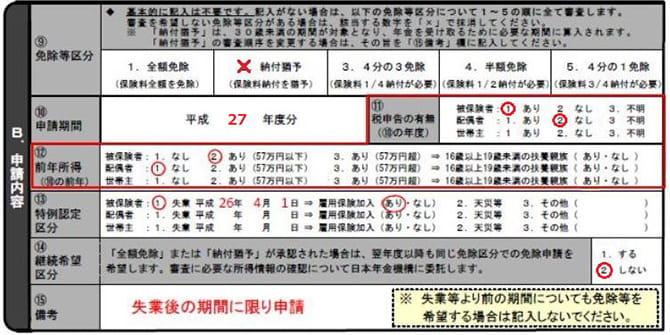 年金免除申請用紙の基本情報の書き方
