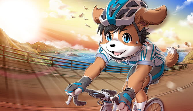 夕日を背にロードバイクをしているコロン太のイラスト