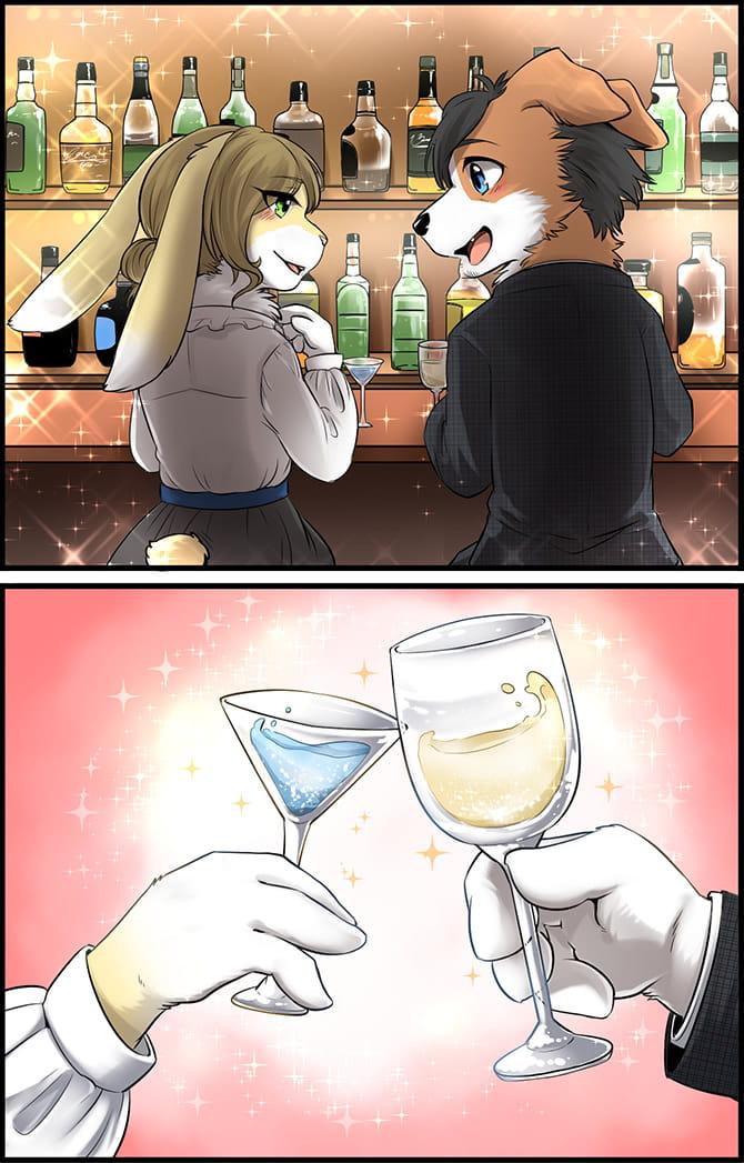 オシャレなバーで乾杯するコロン太とウサギーヌ